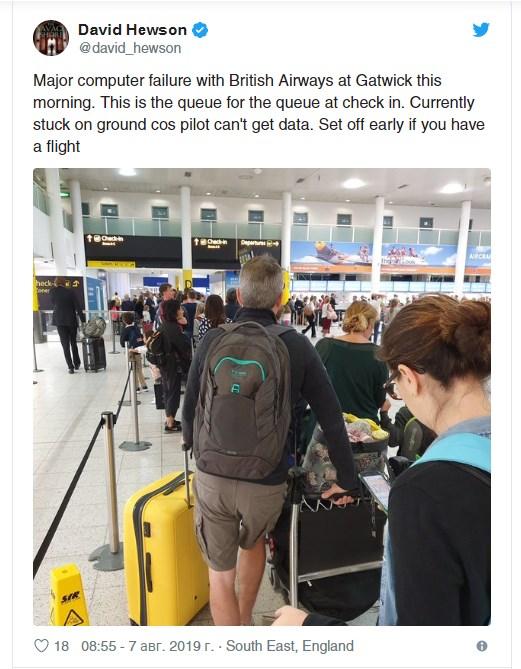 Компания уже принесла извинения и заявила, что пассажиры ближних рейсов, следовавшие из Хитроу, Гатвика и аэропорта Лондон Сити, могут перебронировать билеты на другой день.