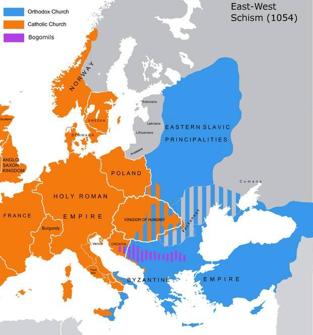 Примерно так в 1054-м году делилась Европа на римскую и византийскую