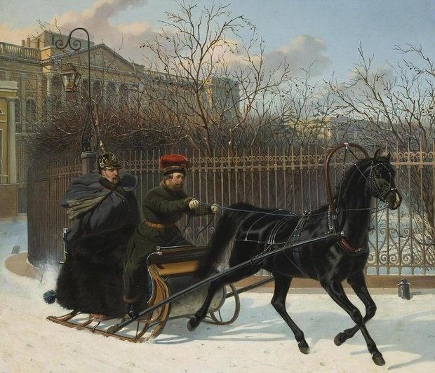 «Портрет императора Николая I в санях». 1850-е. Художник Николай Сверчков