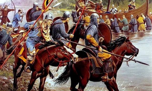 Кавалерия франков ведёт бой на переправе (реконструкция)