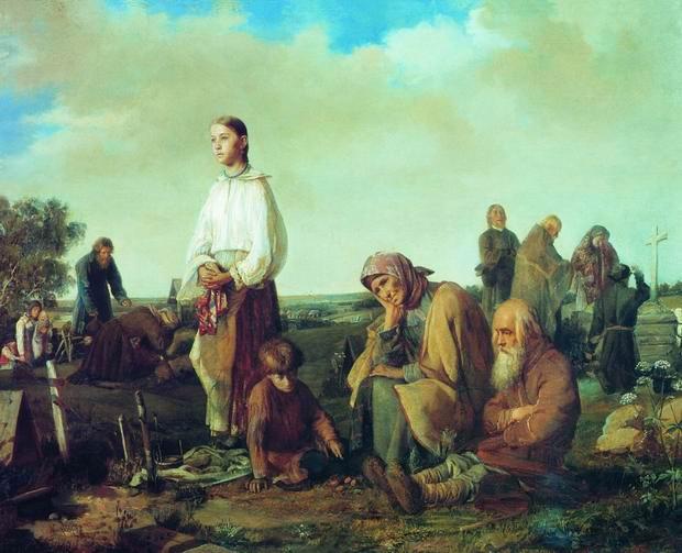 А. Корзухин «Поминки на кладбище», 1865