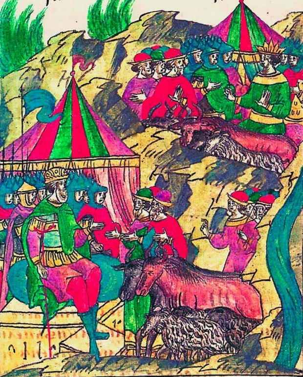 Князь Витовт принимает присланный ему от татар скот. Миниатюра из Лицевого свода. т. 11