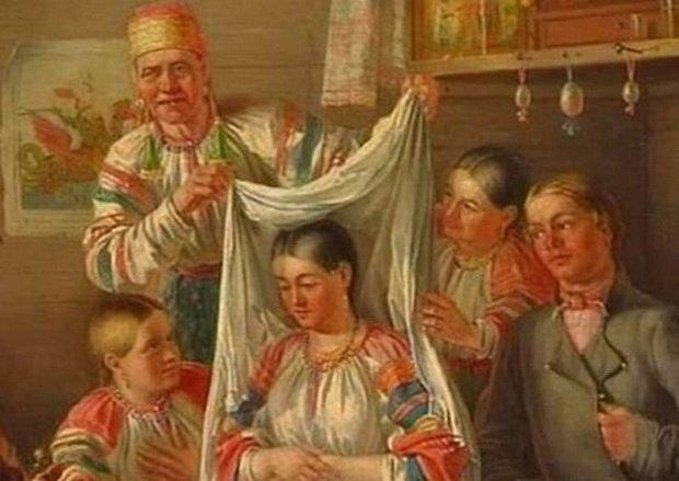 Поэтому на невесту надевали свадебное покрывало, чтобы она случайно не взглянула на людей и посевы.