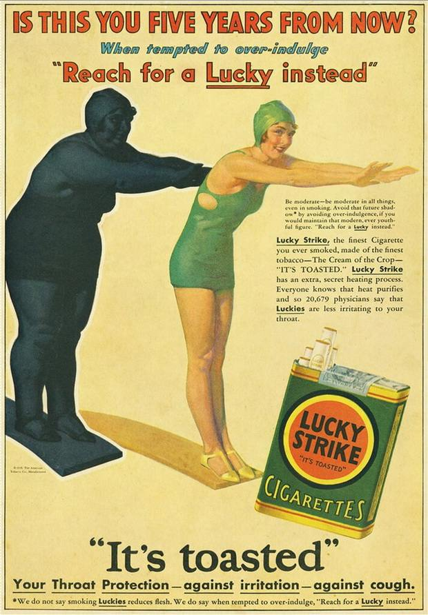 Курение сигарет Лаки спасает от ожирения