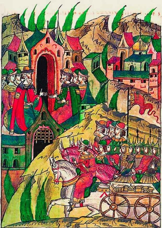 Возвращение русского войска из похода с добычей. Миниатюра и Лицевого свода, т. 11