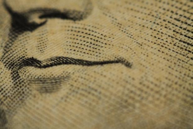 Увеличенное изображение купюры доллара