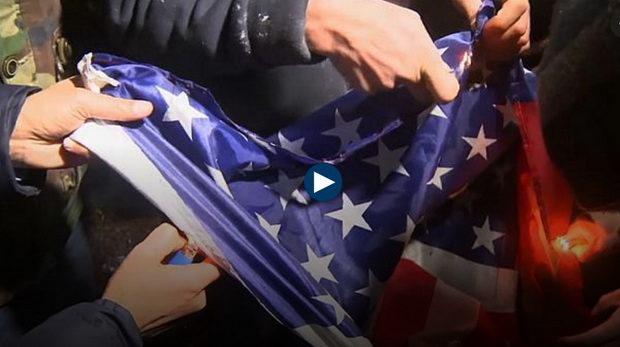 На Западном берегу реки Иордан горят американские флаги