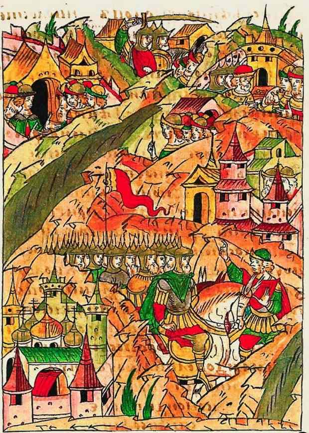 Новгородское войско в походе. Миниатюра из Лицевого свода, т. 11