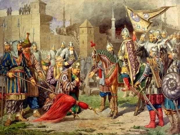 Иван IV в поверженной Казани