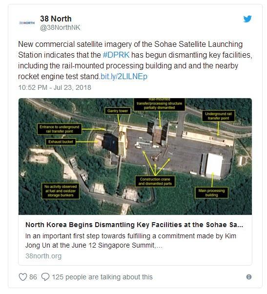 """""""Поскольку считается, что эти объекты играют важную роль в развитии технологий для программы межконтинентальной баллистической ракеты Севера, данные усилия представляют собой значительные меры по установлению доверия со стороны Северной Кореи"""", - сказано в публикации 38 North."""