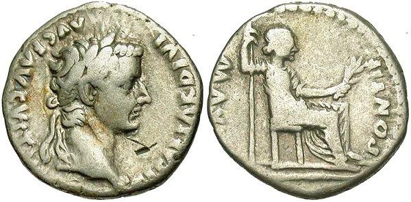 Денарий императора Тиберия (14-37 гг.).Отчеканенный в городе Лугдунум (ныне Лион, Франция)