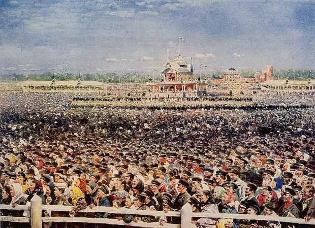 Маковский. Народные гуляние на Ходынском поле в 1896 году. Источник: ru.wikipedia.org