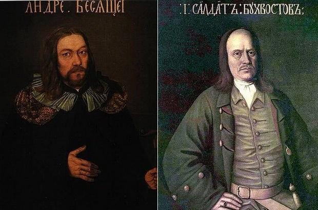 Соратники Петра I во Всешутейшем соборе: Андрей Бесящей и майор С. Л. Бухвостов.