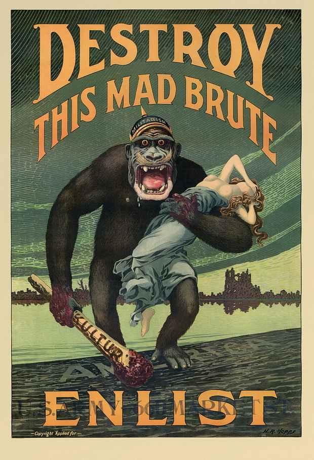 Пример американской пропаганды против Германии времен Первой мировой войны