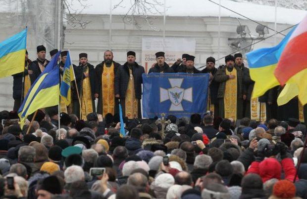 Перед стенами храма Святой Софии прошел молебен об объединении украинского православия