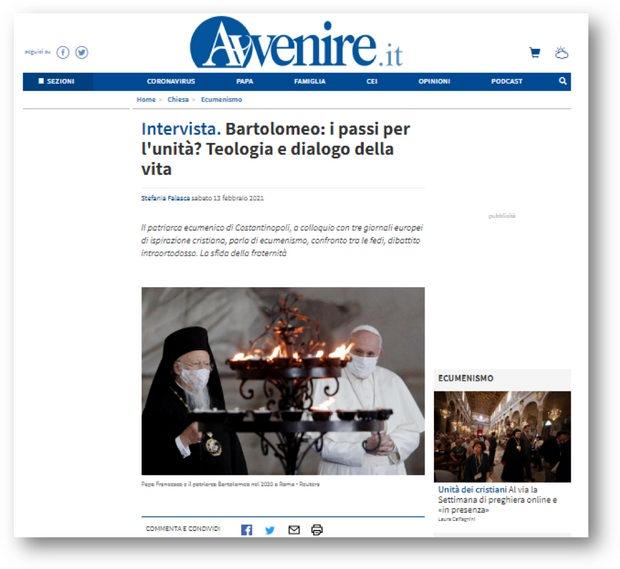 13 февраля 2021 г. Константинопольский патриарх Варфоломей дал очередное интервью