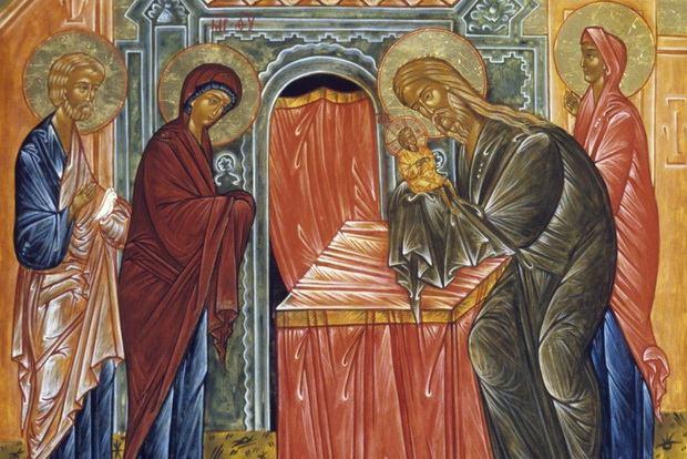 Богоприимец Симеон взял Богомладенца на руки, и, благословив Его, пророчествовал о Спасителе