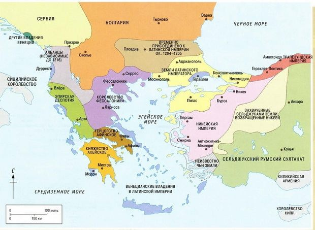 Земли, завоёванные крестоносцами в результате Четвертого крестового похода