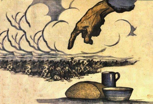 Два года спустя хлебный поволжский рай постигнет бедствие, связанное в первую очередь с политикой партии, за которую сражались рабочие-большевики.