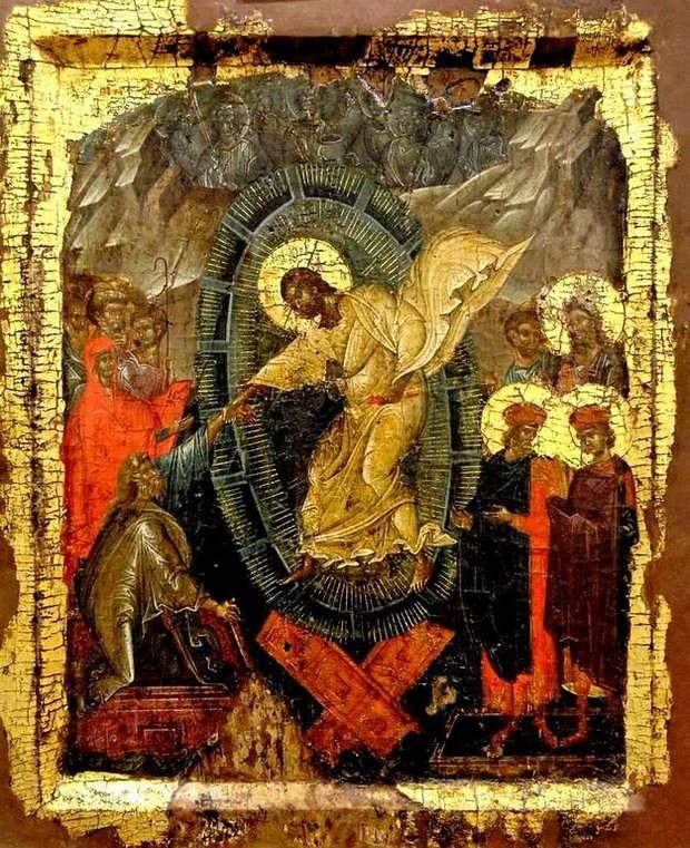 Сошествие во ад. Византийская икона начала XIV века