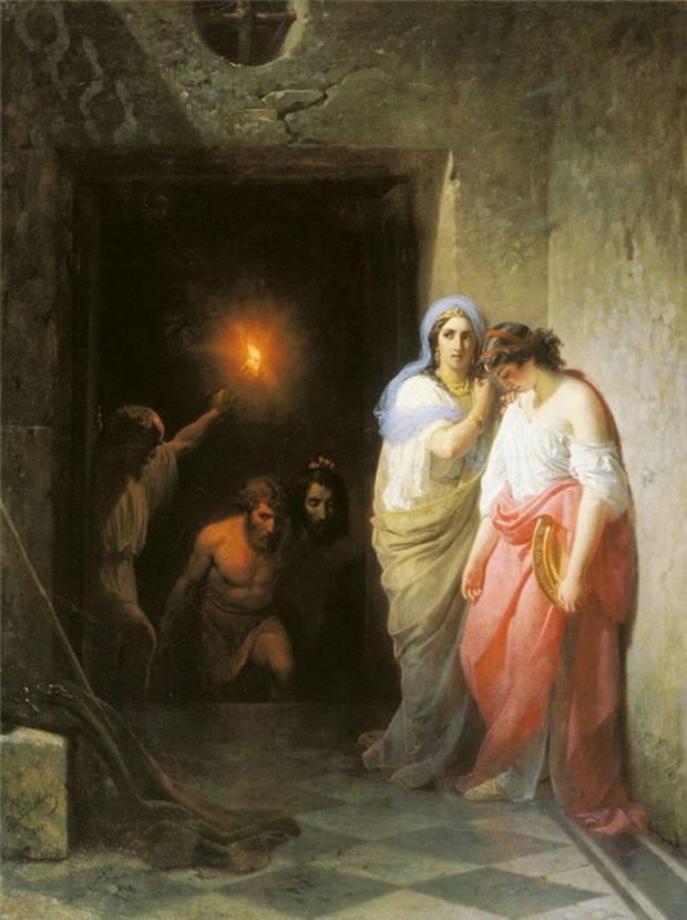 Саломия по совету своей злобной матери Иродиады просила дать ей тотчас же на блюде голову Иоанна Крестителя.