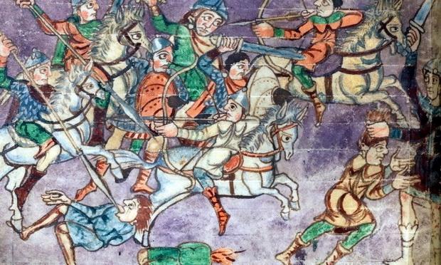 Франкские всадники атакуют конных стрелков