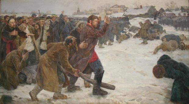 Антон Петров выходит к войскам, держа над головой положение о крестьянах