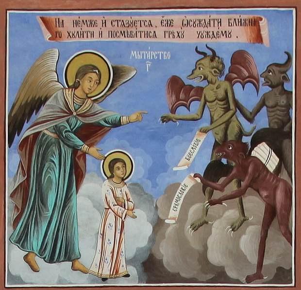 Пройти мытарства св. Феодоре помог св. Василий Новый, давший св. Ангелам мешок золотых монет - сокровищ своих молитв Богу - для откупа от бесов, поскольку св. Феодора ухаживала за ним в его старости.