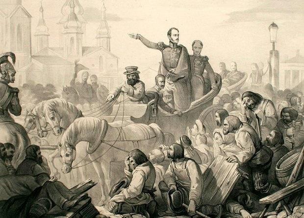 Николай I во время холерного бунта на Сенной площади
