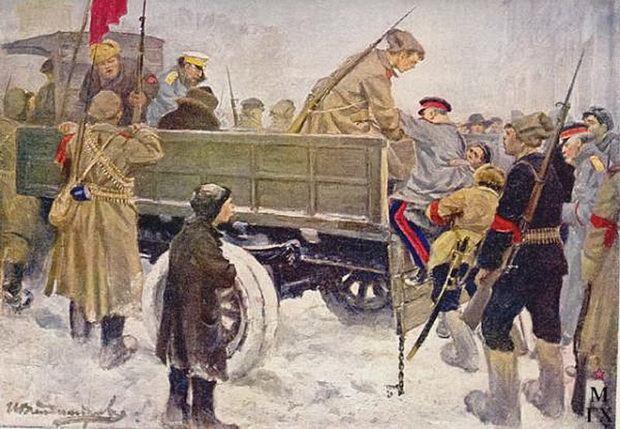 Офицеры бросались из третьего этажа, но не убивались, а что–нибудь себе сламывали, а большевики прибивали их штыками