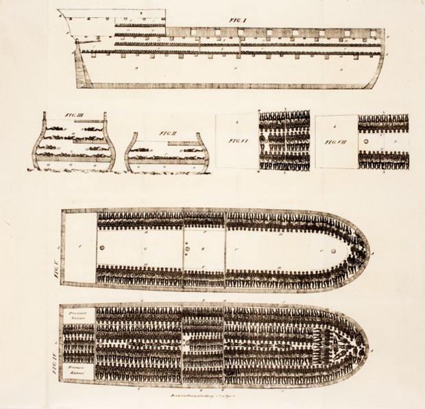 Схема невольничьего корабля с расположением рабов, 1822 г. Источник: ru.wikipedia.org
